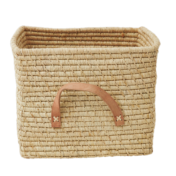 Rice - Small Square Raffia Basket with Leather Handles - Natural