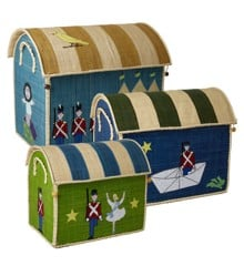 Rice - Large Set of 3 Toy Baskets with Tin Soldier Theme