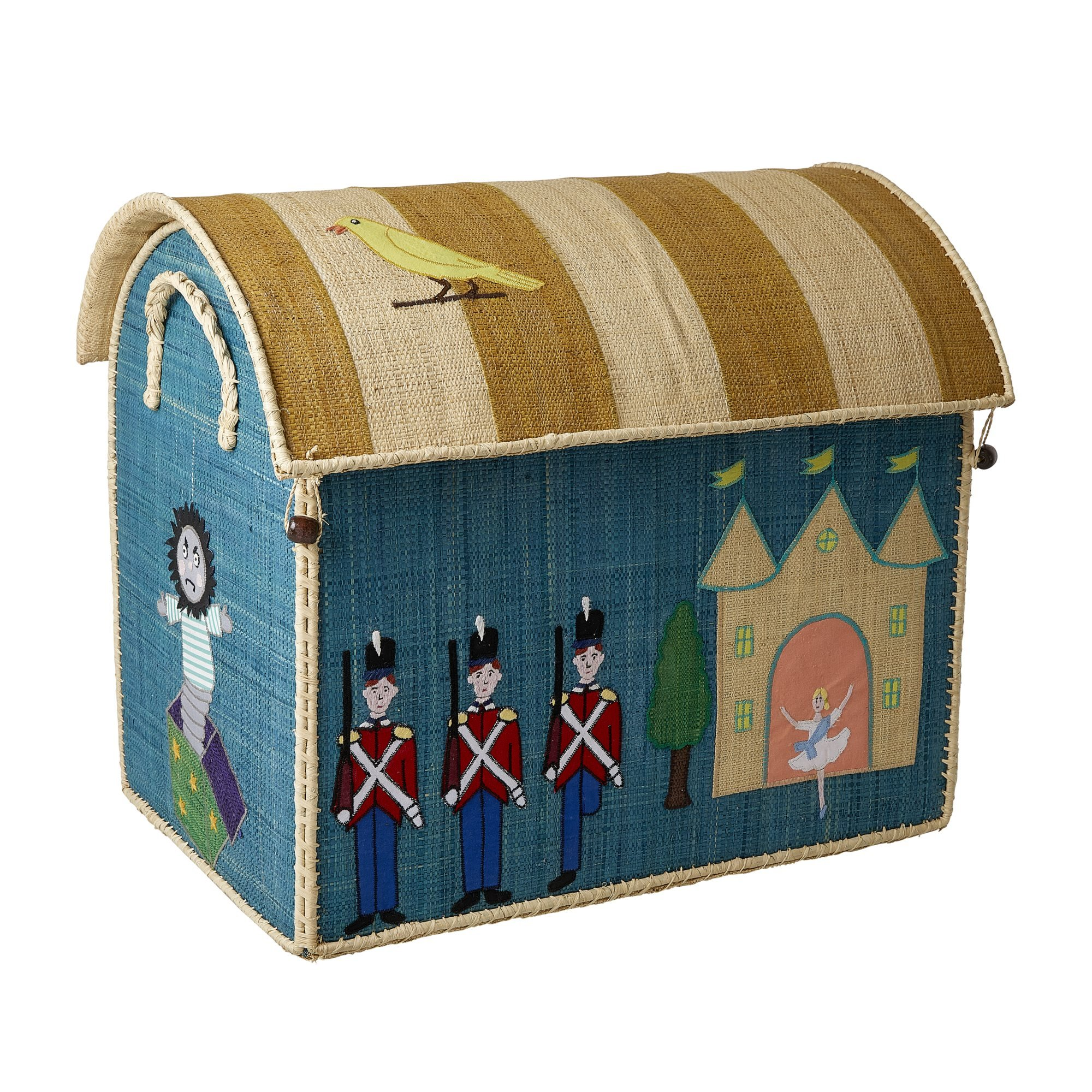 Rice Large Set of 3 Toy Baskets with Tin Soldier Theme