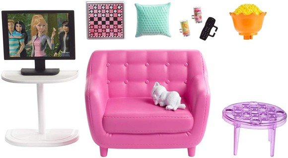 Barbie - Indoor Furniture - Living Room with Kitten Playset (FXG36)