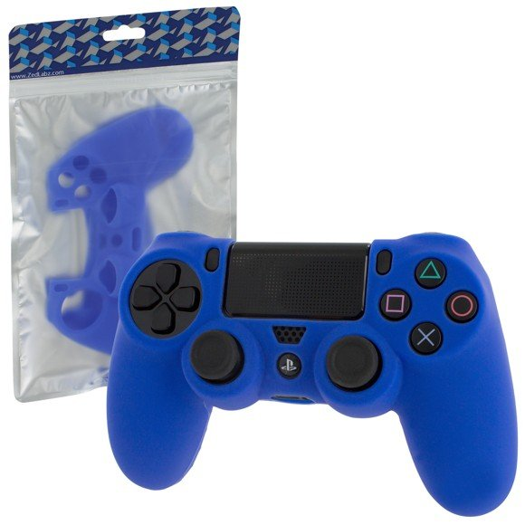 ZedLabz soft silicone rubber skin grip cover for Sony PS4 controller with ribbed handle - blue