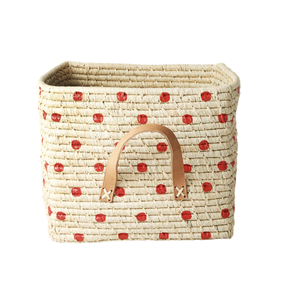 Rice - Small Square Raffia Basket with Leather Handles - Red Natural Dots