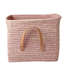 Rice - Small Square Raffia Basket with Leather Handles - Soft Pink