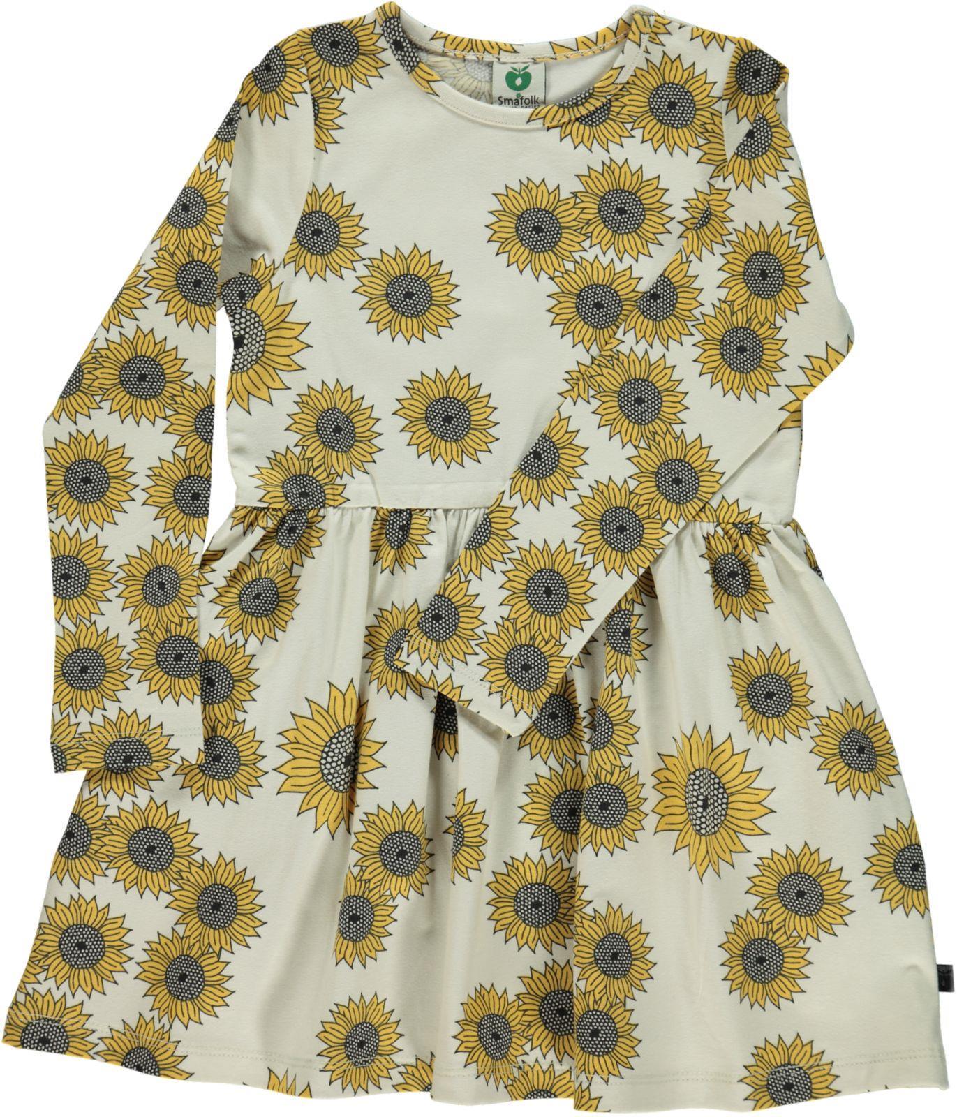 Småfolk - Dress w. Sun Flower Print - Kalk