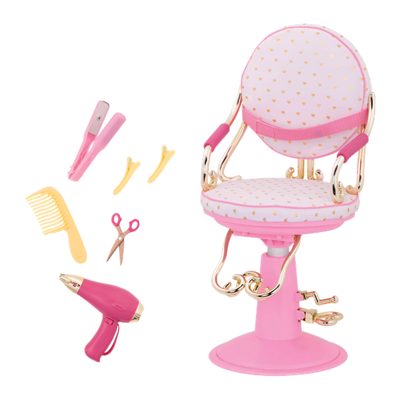 Our Generation - Sitting Pretty Salon Chair – Gold Hearts (737413)