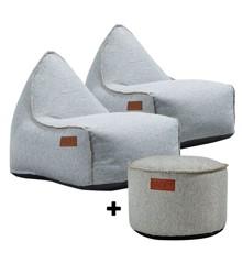 SACKit - 2 x RETROit Cobana + RETROit Cobana Drum Puf - Sand Melange ( Kan bruges udendørs )