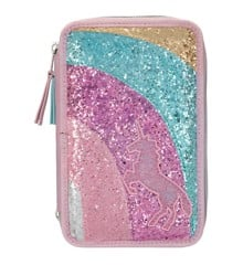 Ylvi & the Minimoomis - Pencil Case with Rainbow & Glitter - Rose (0410646)