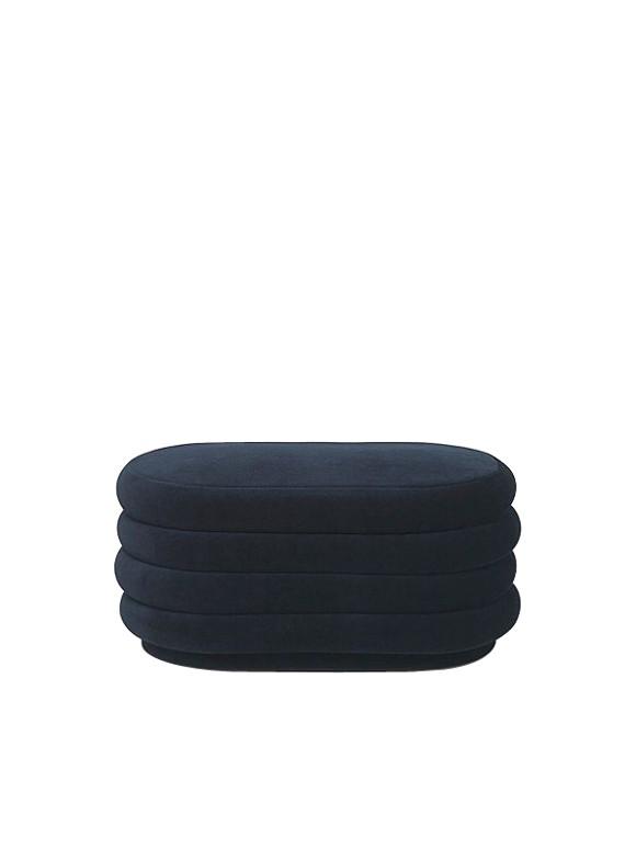 Ferm Living - Pouf Oval Medium - Dark Blue (9454)