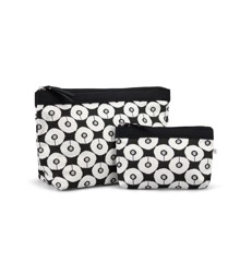 Karen - A-Shaped 2-pcs Cosmetic Bag Set - Black and White