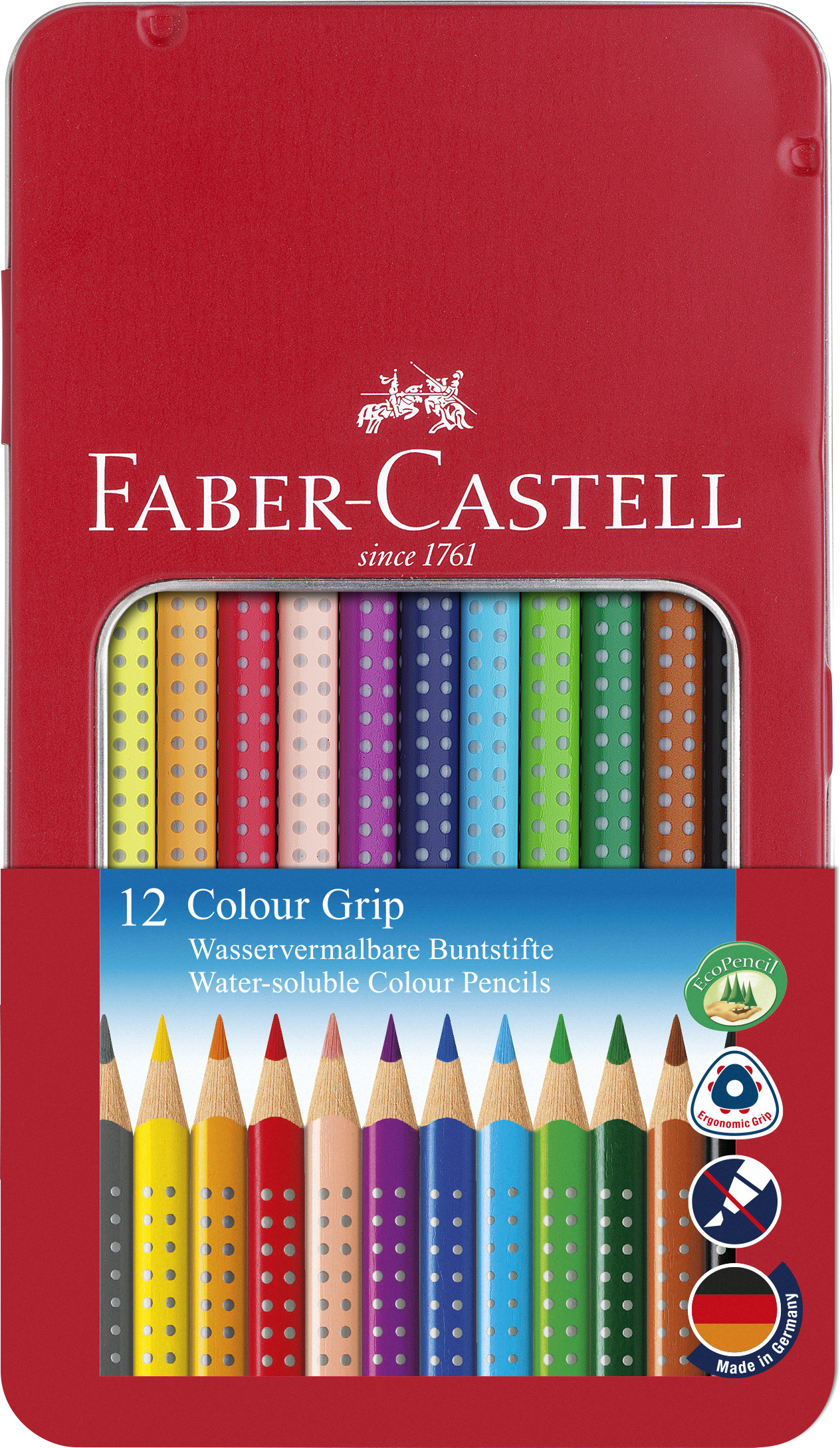 Faber-Castell - Coloured pencil Colour Grip tin of 12 (112413)
