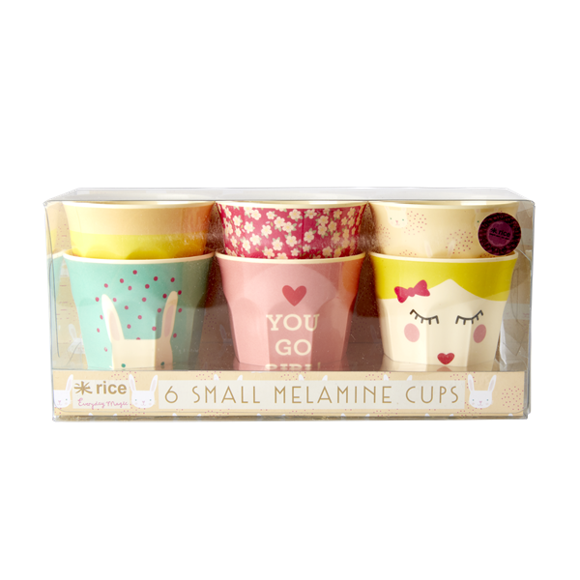 Rice - 6 Stk Small Melamin Kopper - Assorted Rabbit Print