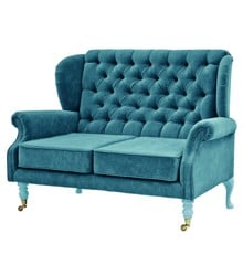 Rice - 2 Seater Velvet Sofa - Petrol w. Mint Legs