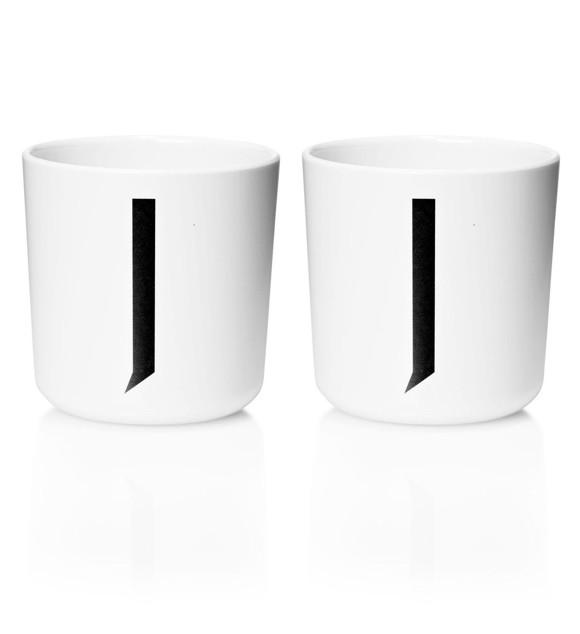 Design Letters - Personal Melamine Cup J - 2 pcs - White