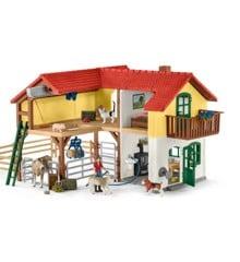 Schleich - Bondegårdshus med stald og dyr (42407)