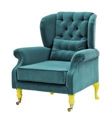 Rice - Velvet Wing Chair + Small Cushion - Petrol w. Yellow Legs