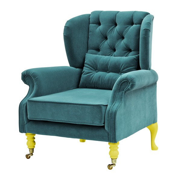 Rice - Velvet Wing Chair + Small Cushion - Petrol w. Yellow Legs
