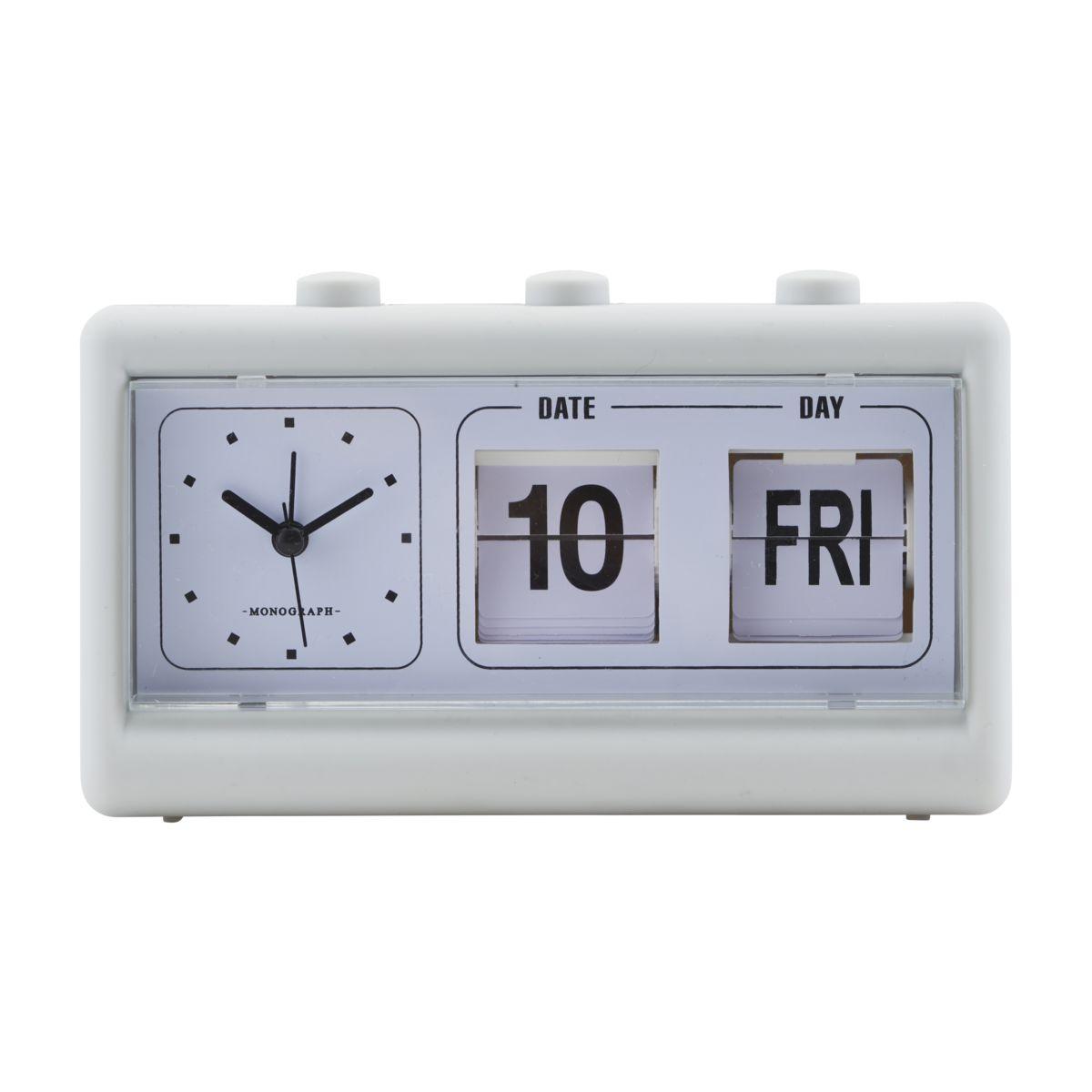 House Doctor - Retro Clock w. Alarm and Calendar - Grey (MGEA0401)