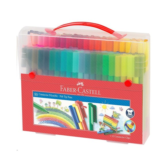 Faber-Castell - ​Connector Pens, Carry case, 80 pc (155579)