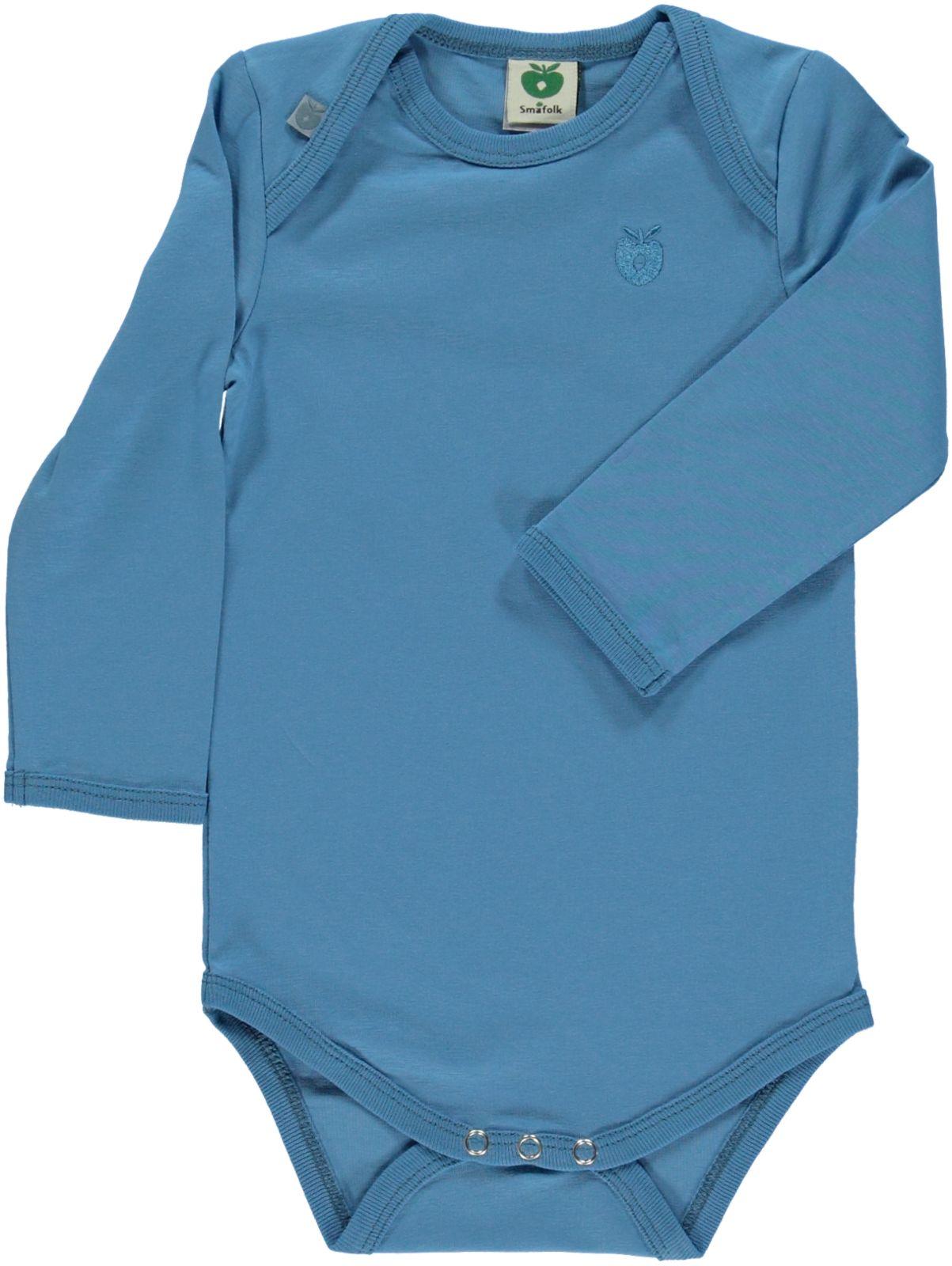 Småfolk - Organic Basic Longsleved Body - Cendre Blue