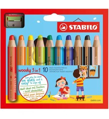 Stabilo - Woody 3in1 10 pc with sharpener (880/10-2)