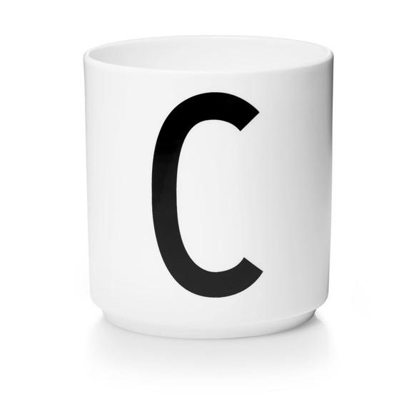 Design Letters - Personlig Porcelænskop C - Hvid
