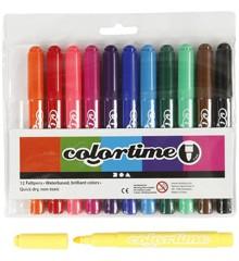 Colortime - Tusch 5 mm - Standardfarver - 12 stk.
