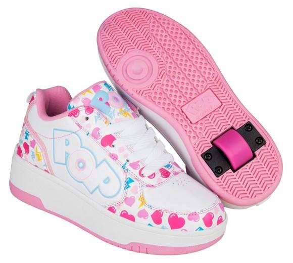 Heelys - Strike - White/Light Pink/Heart - Size 35 (POP-G1W-0044)