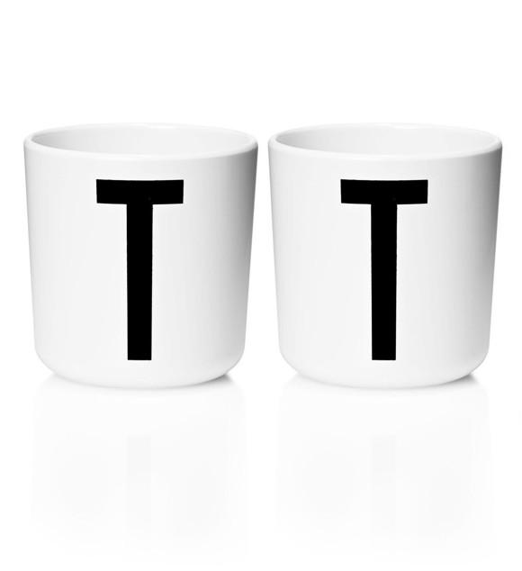 Design Letters - Personal Melamine Cup T - 2 pcs - White