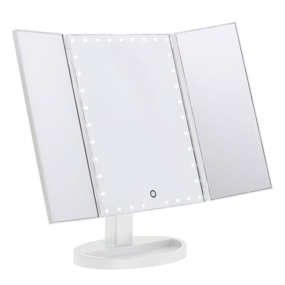 UNIQ® Hollywood Trifold Makeup Mirror With 21 LED Light Bulbs - White