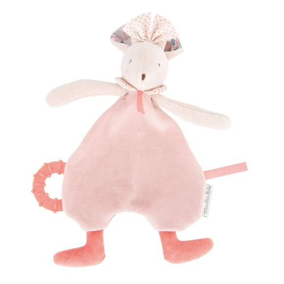 Moulin Roty - Comforter with teething toy, Mouse (664019)