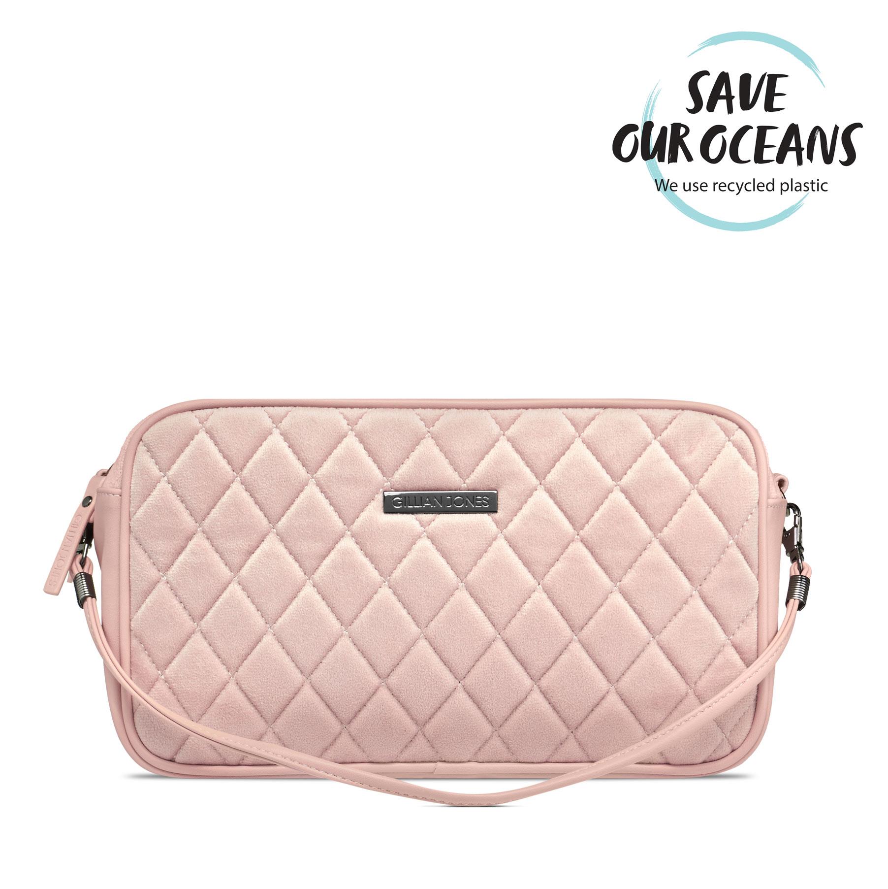 Gillian Jones - Cosmetic Bag Velour Quilt - Rosa