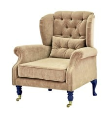 Rice - Velvet Wing Chair + Small Cushion - Beige w. Dark Blue Legs
