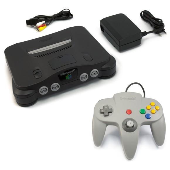 N64 console #black + official gamepad + equipment