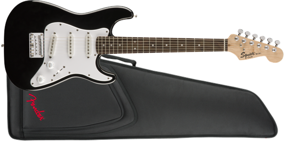 Squier By Fender - Mini V2 Stratocaster - Electric 3/4 Guitar With Gigbag Included (Black)