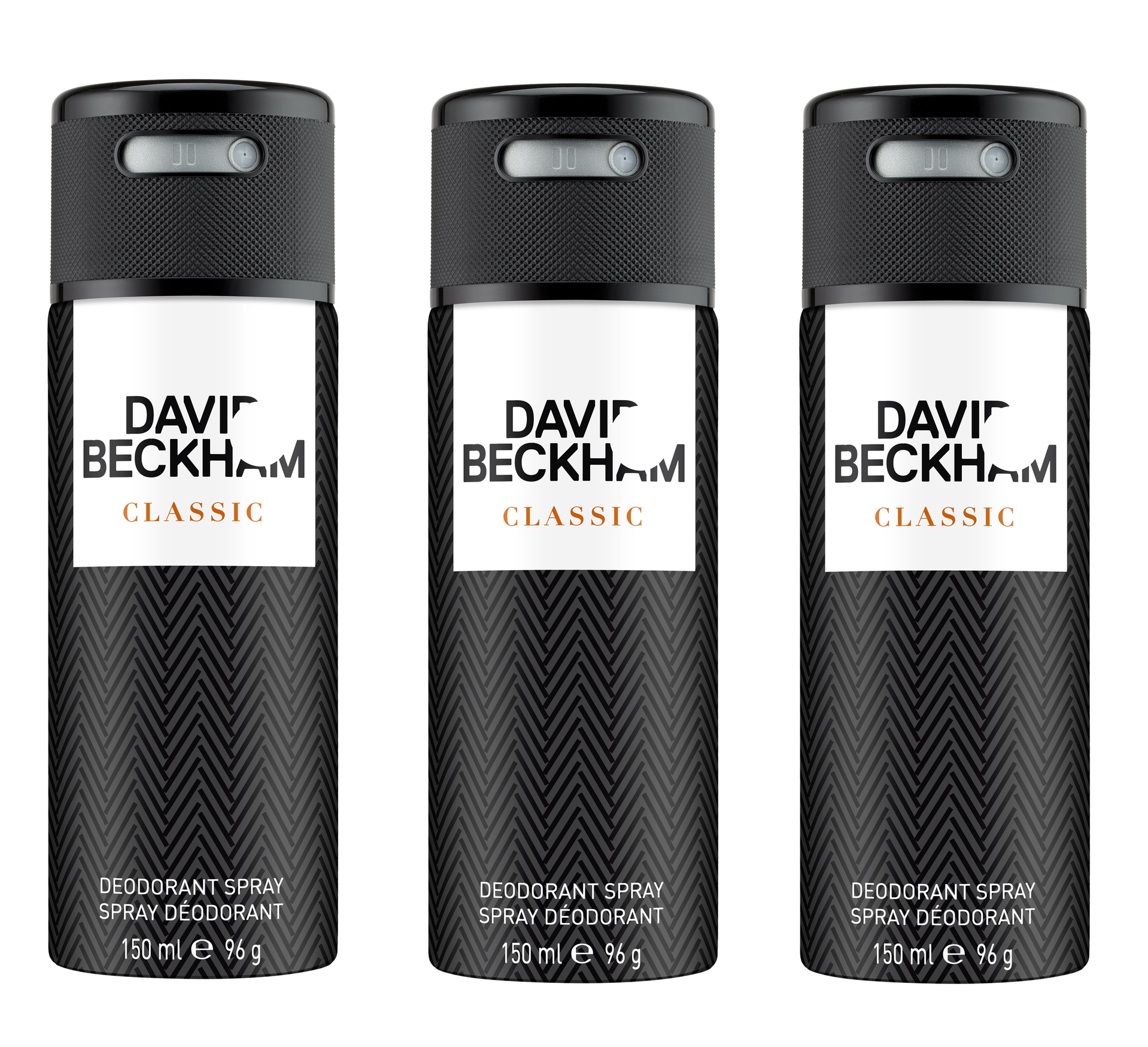 David Beckham - 3x Classic Deodorant Spray 150 ml