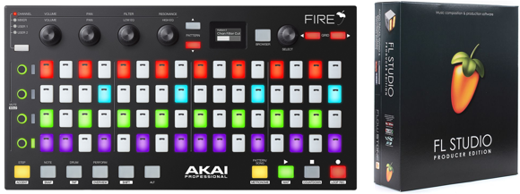 Akai - Fire - USB MIDI Controller + FL Studio V20+ Producer Edition