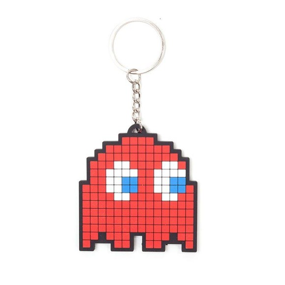 Pac-Man Blinky Pixelated Character Rubber Keychain - Red (KE150200PAC)