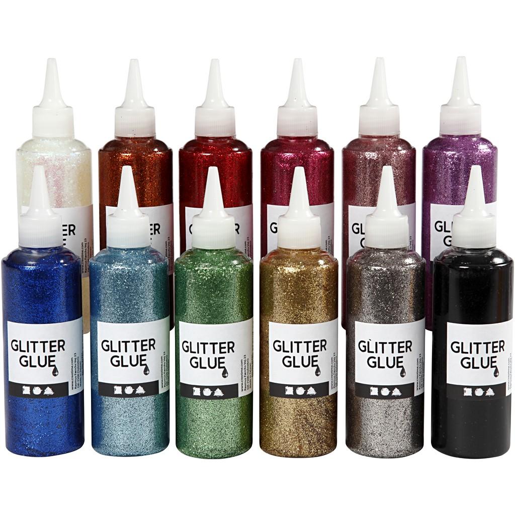 Glitzerkleber - Sortierte Farben - (12 x 118 ml)