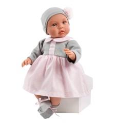 Asi dukker - Leonora dukke i grå og rosa kjole, 46 cm
