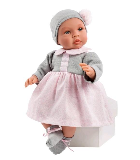 Asi - Leonora dukke i grå og rosa kjole, 46 cm