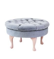 Rice - Round Velvet Pouf - Soft Grey w. Soft Pink Legs