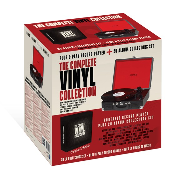 Turntable portable incl. 20 Vinyl records with classic artist - Red