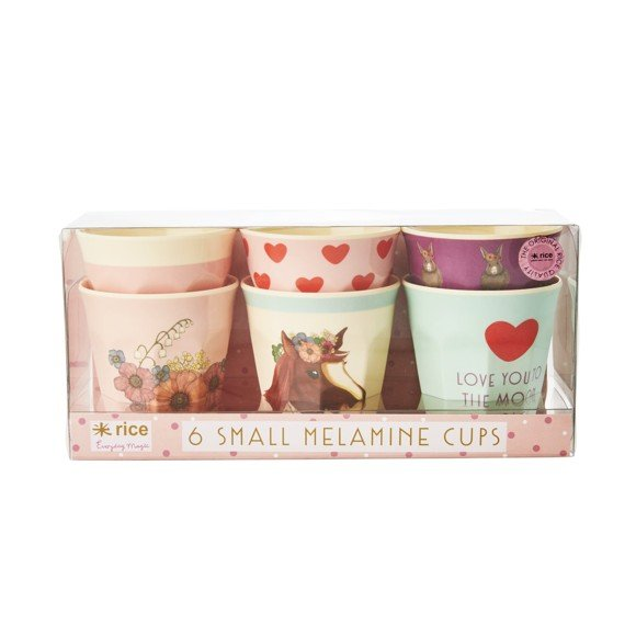 Rice - Melamine Cups 6 Pcs Small - Pink Animals