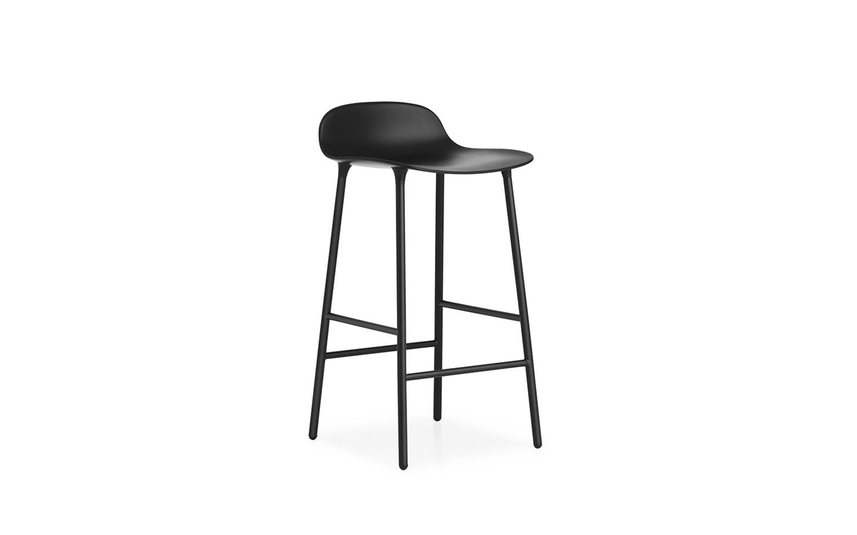 Normann Copenhagen - Form Barstuhl 65 cm - Schwarz/Stahl