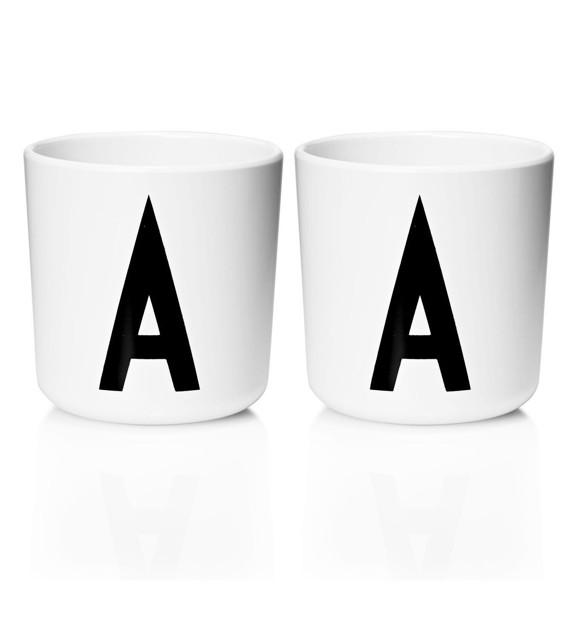 Design Letters - Personal Melamine Cup A - 2 pcs - White