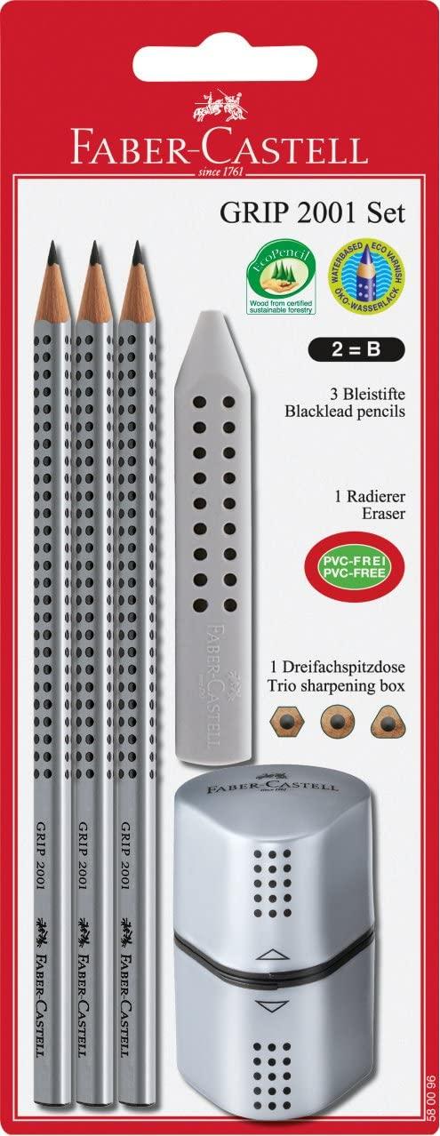 Faber-Castell - Grip 2001 - Pencil Set - 5 Parts Silver (580096)