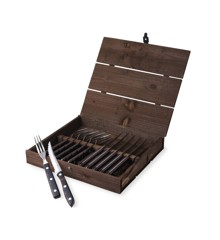 Gense - Old Farmer Classic Steak Cutlery 6 Set - Brown Wood/Steel