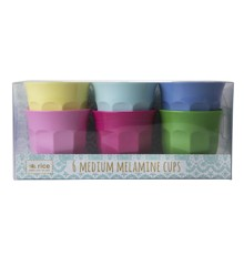 Rice - Medium Melamine Cups 6 Pcs - Classic Colors