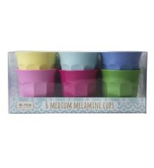 Rice - Medium Melamine Cups 6 Pcs - Classic Colors