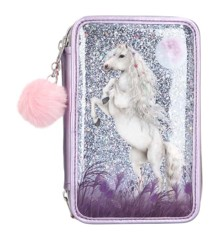 Miss Melody - Trippel Pencil Case w/Glitter - Purple (0410770)